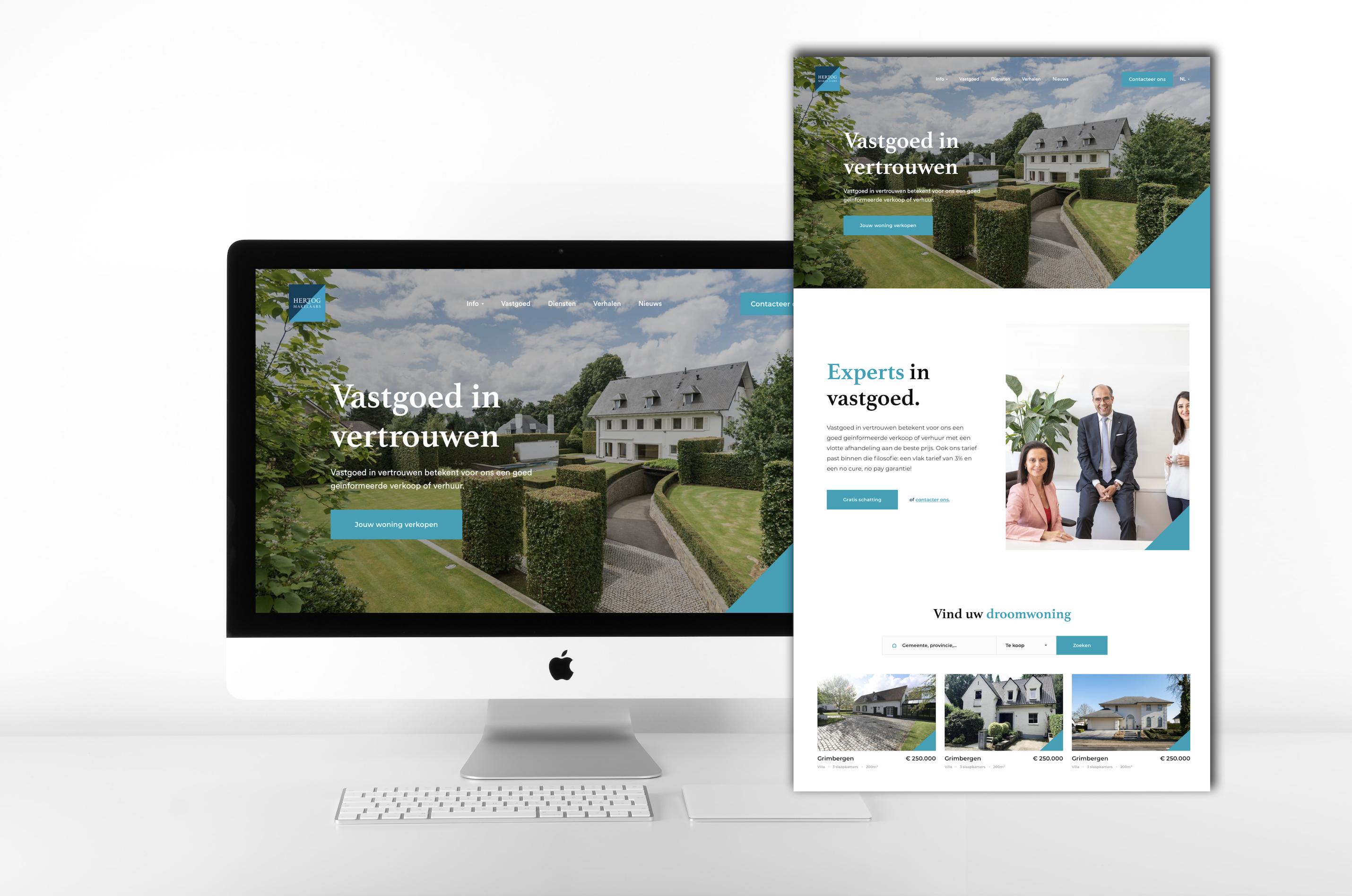 AMAI.IMMO Antwerpen lanceert Hertog Makelaars met een vernieuwend webdesign voor vastgoed.